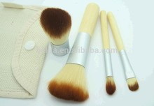4pcs wood handle kabuki travel kit make up set/makeup brush set goat hair/private label free sample/cosmetic bag china supplier