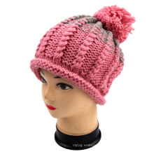 Hand Knit Rolled Edge Bucket Winter Hat Cap Women Girls