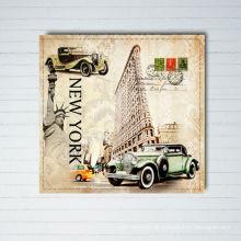 Vintage New York City Design Leinwand Gemälde mit Holz Gerahmte Kunst Bild Druck auf Leinwand
