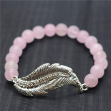 Rose Quartz 8MM Round Beads Stretch Gemstone Bracelet with Diamante feather alloy Piece