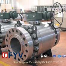 Válvula de bola ASTM de tres piezas forjada en acero montada en muñón