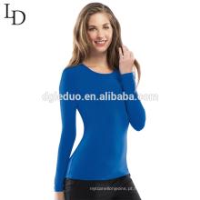 Atacado barato personalizado simples sexy apertado manga longa mulheres camiseta para uniforme
