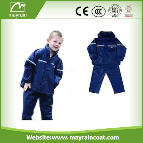 Polyester Children Black Blue Red Rainsuits