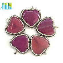 Natrual Heart Agate Quartz Grand pendentif