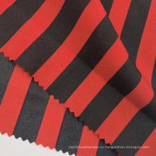 Модные ткани полиэстер эпонж с принтом в красную и черную полоску