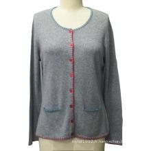 Tricots femme avec poche à manches longues à cardigan chandail