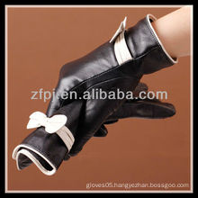 rakish bowknot adorn winter leather gloves