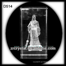 Cubo de cristal de cristal da gravura do laser de cristal 3d