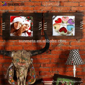 Sunmeta sublimación de madera de rock marco de fotos colgante de pared SH40