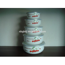 5pcs 10/12/14/16/18 Enamel Bowl Mixing bowl Set & fruit enamel coating