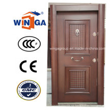 Turquía de lujo de acero de seguridad MDF chapa de madera puerta blindada (W-T33)