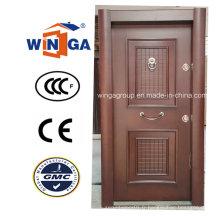 Porte blindée en placage en bois MDF en acier inoxydable de luxe en Turquie (W-T33)