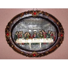 Oval Resin Religious Plaque for Christmas Decoration