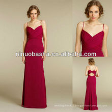NW-414 Spaghtti Straps Chiffon Red Evening Dress