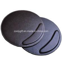 Tapis de souris rond avec poignet personnalisé personnalisé Noir / Brown PU Tapis de souris en cuir Vente en gros