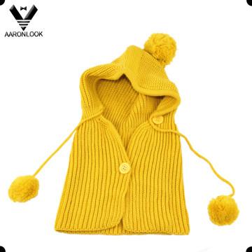 Дети Симпатичные Зимний Теплый Вязаный Шарф с капюшоном