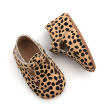 Lacework Leopardo T Bar Mary Jane Sapatos de Bebê