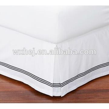 хлопка гостиницы белый стол 300TC bedskirts вышивки