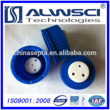 HPLC Safety PP cap PTFE septa with holes GL45 Max 140 degree
