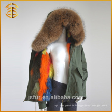 New Design Women Army Green Faux Coat Zipper Fox Fur Parka