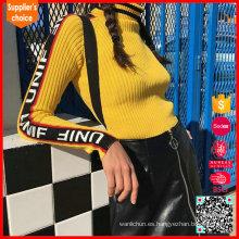 Señoras 100% algodón suéteres jacquard suéter para mujer de tejer