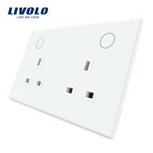 Panneau d'alimentation en verre Livolo Electrique 13A Double UK Socket VL-W2C2UK-11