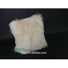 Home Textile Agneau mongol en fourrure de mouton Housse de coussin Natrual White