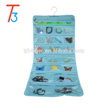 Hanging Jewelry Organizer with Zipper Closure and Hanger (Blue,50 Pockets)