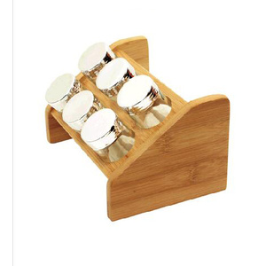 Bamboo wood spice rack for 6 glass jars