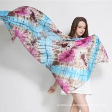 Cómodo y suave de seda Paj Tie-Dyed bufanda azul