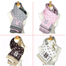 Womens Multiple Style Neck Warmer Thick Deer Snow Printing Winter Knitted Scarf (SK127)
