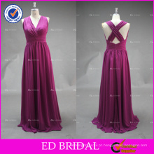ED Bridal Wine Sexy V Neck Criss Cross Back Long Chiffon Vestido de dama de honra 2017