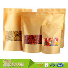 Cheap Durable Custom Made Stand Up High Barrier Resealable Kraft Paper Bags Food Grade For Food Packaging