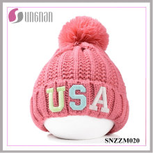 2016 Fashion Fluorescent Luminous Embroidery Alphabet Wool Knit Hats
