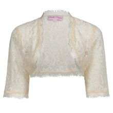 Belle Poque Womens Ladies Wedding Bridal Bridesmaid 3/4 Sleeve Beige Lace Shrug Bolero BP000319-3