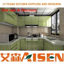 U-Form hellgrün Hochglanz-Lack Küchenschrank