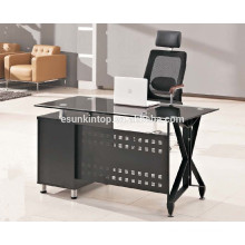 Glass top stainless steel frame office desk