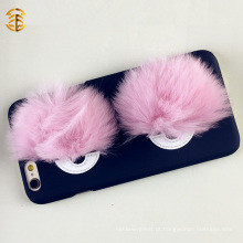 Real Fox Fur Monster Eyes capa do telefone móvel para Apple Iphone
