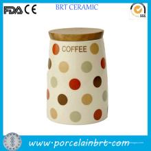Medida impresión decorativa única tarro café de cerámica con tapa de bambú