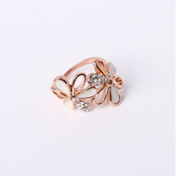 Flower Design Fashion Ring mit Strass und Epoxy
