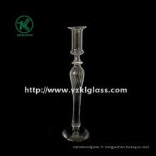 Bougeoir en verre pour la décoration de mariage avec un seul poste (DIA 8 * 21)