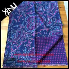 Écharpe imprimée réversible géométrique de Paisley pour les hommes en écharpe bleue d'hommes personnalisés roses