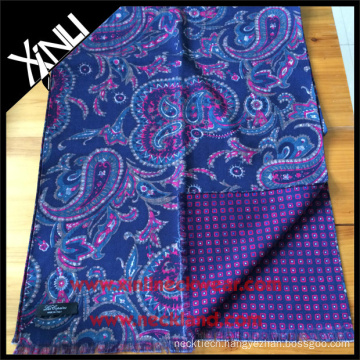 Paisley Geometrical Reversible Printed Scarf for Men in Blue Pink Personalized Men Scarf