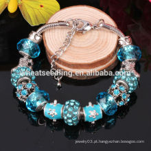 Presente de Ano Novo 2016 European Charm Pulseira DIY Beads jóias de vidro para as meninas
