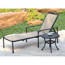 Novo Conjunto de móveis de pátio ao ar livre ajustável de alumínio e aço fundido Hotel Garden Chaise Lounge