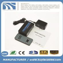 2x1 MINI METAL Commutateur HDMI 2Port Hub Box Auto Switch 2 In 1 Out Switcher 3D 1080p HD 1.4 Avec télécommande