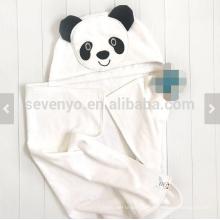 Toalha de bebê com capuz rosto animal panda presente personalizado tamanho grande