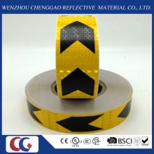 Ruban réfléchissant de PVC noir et jaune de flèche avec le treillis en cristal