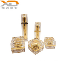 2019 new design gold  silver square plastic container cosmetic pump lotion acrylic bottle and cream jar