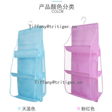 Factory blue pink white color non woven hanging hand bag organizer
